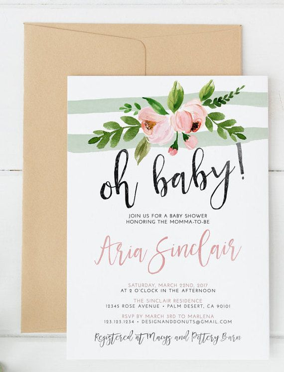 Oh Baby Shower Invitation, Pink, Mint, Peony, Watercolor It's a Girl or Boy, Baby Shower Invites Celebrate the baby girl or boy on the way with this adorable floral oh baby shower invitation. Features pink and mint accents for a soft style.
