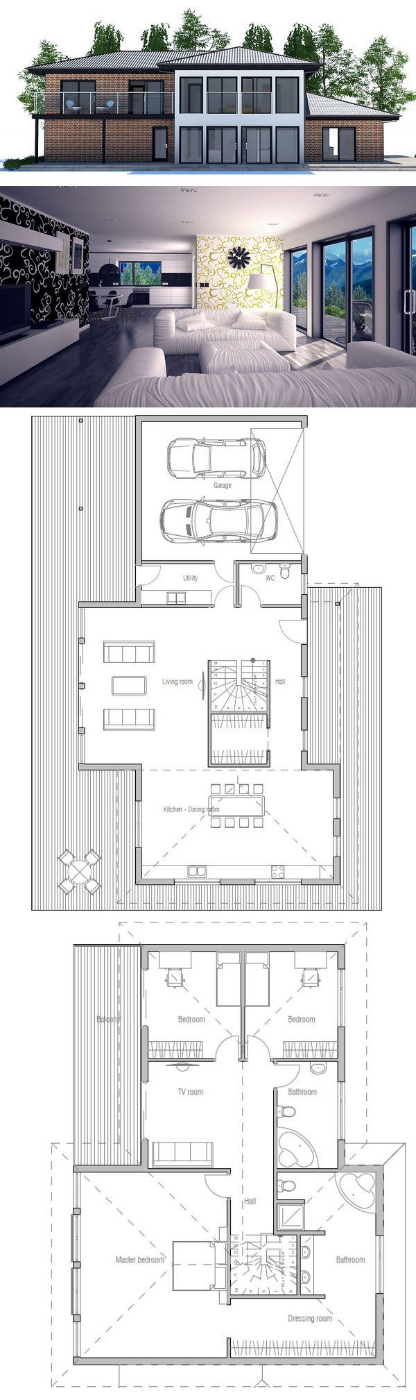 Modern House Plan with open plan Three