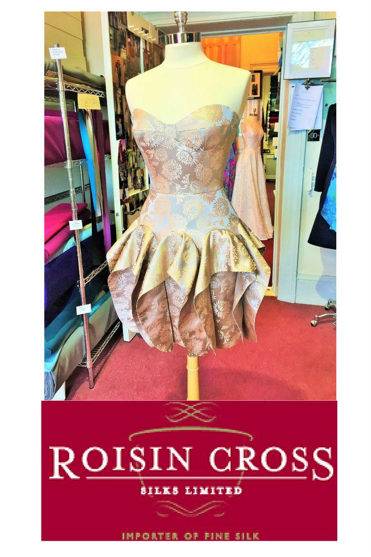 Blush and Gold Silk Brocade