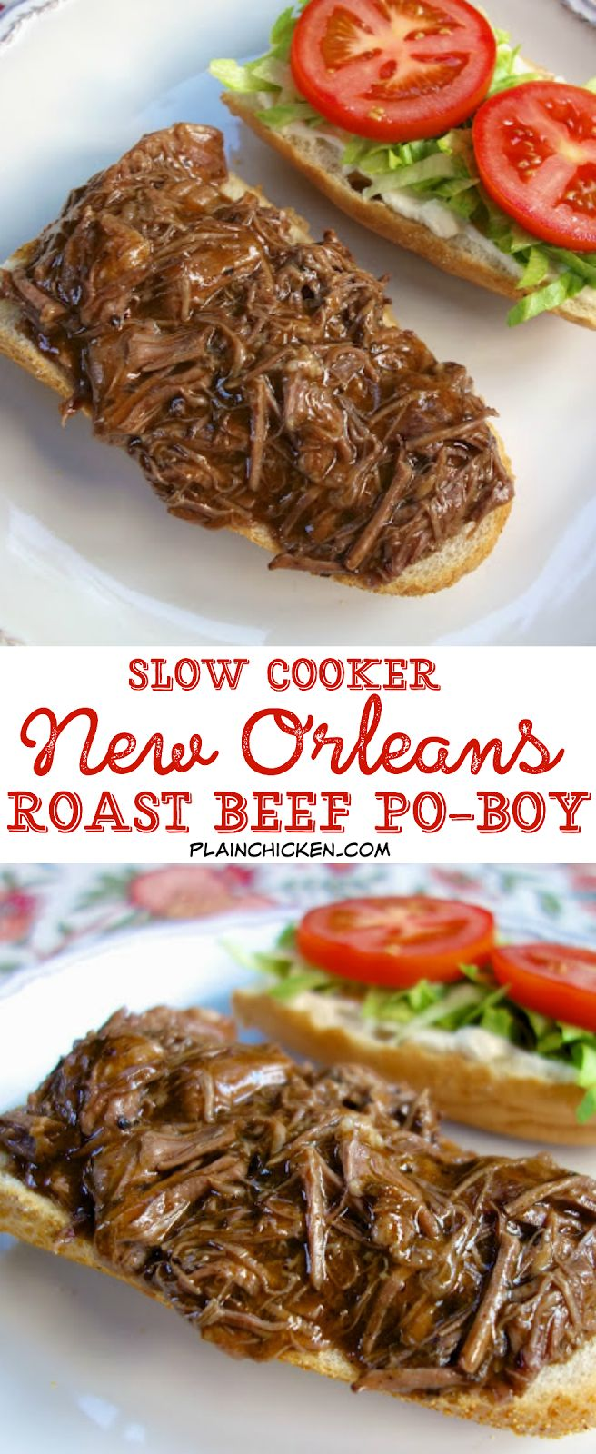 Slow Cooker New Orleans Roast Beef Po-Boy - inspired by our meal at Felix's in New Orleans. Only 5 ingredients! Slow cooked pot roast seasoned with cajun seasoning and simmered in an easy gravy. Can serve as a sandwich or over rice, noodles or mashed potatoes. This stuff is SO good!! Better than the original!