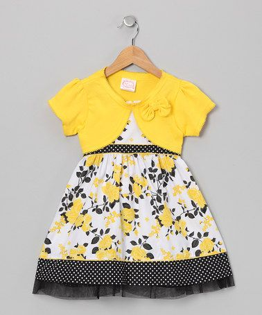 Take a look at this Yellow & Black Rose Dress & Shrug - Infant, Toddler & Girls by Longstreet on #zulily today!