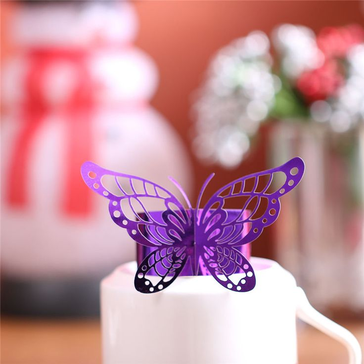 12PC/lot Porta Guardanapo Laser Cut Purple Butterfly Paper Napkin Rings Holders Favors and Gifts Party Wedding Invitations Decor