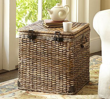 Daytrip Lidded Cube Basket add small square tray and instant side table with storage for blankets