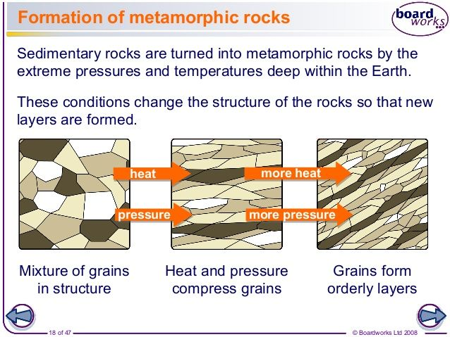 metamorphic rock formation Formation of metamorphic rocks metamorphic rocks record how temperature and pressure affected an area when it was forming the rocks provide clues to their transformation into a metamorphic.