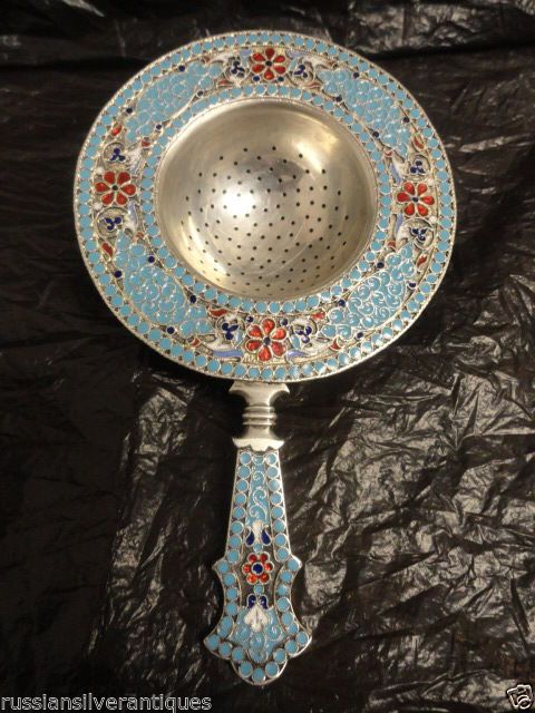 Amazing Antique Russian Silver 84 Cloisonne Enamel Tea Strainer 4 75 Inches | eBay