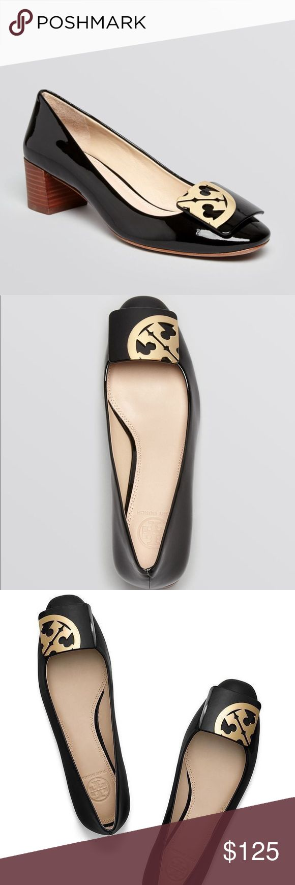 Tory Burch Square Toe Logo Pumps