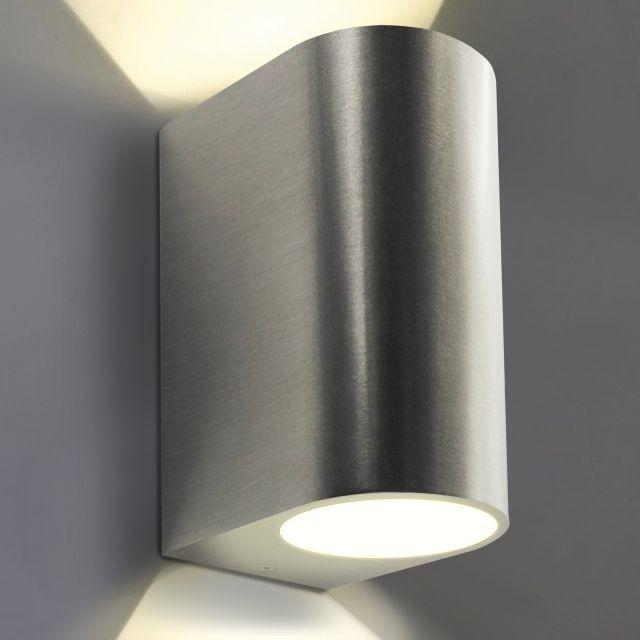 LED Wandleuchte, Wandlampe, Außenleuchte, Aluminium, 2-Flammig, Edelstahl geb., GU10-230V, (Form:C)