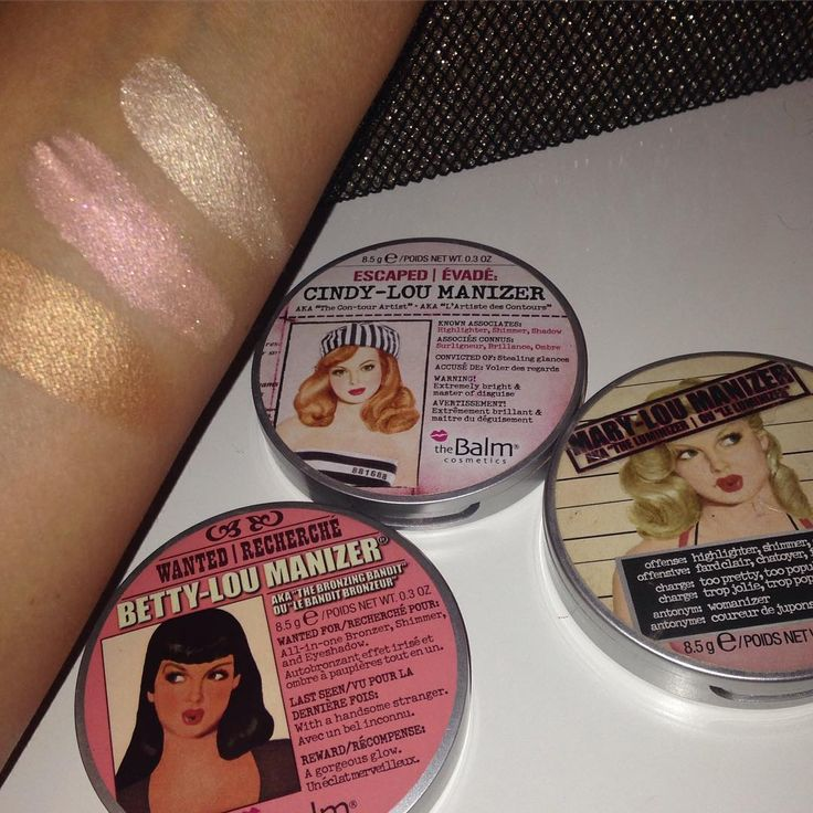 Shine bright like a diamond! The Balm Cosmetics Highlighters! L-R: Betty Lou-Manizer, Cindy Lou-Manizer Mary Lou-Manizer! - makeup products - http://amzn.to/2hcyKic