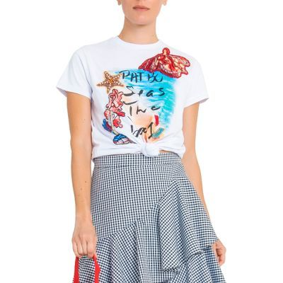 Camiseta print bordada Pat Bo - Branca - shoplixmix