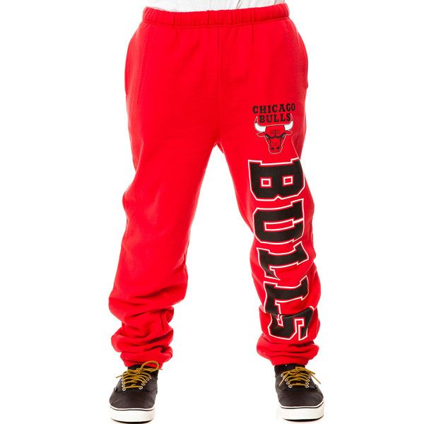 Mitchell & Ness The Chicago Bulls Sweatpants in Red ($53) ❤ liked on Polyvore featuring mens, men's clothing, men's activewear, men's activewear pants, bottoms, pants, guy, jeans and red