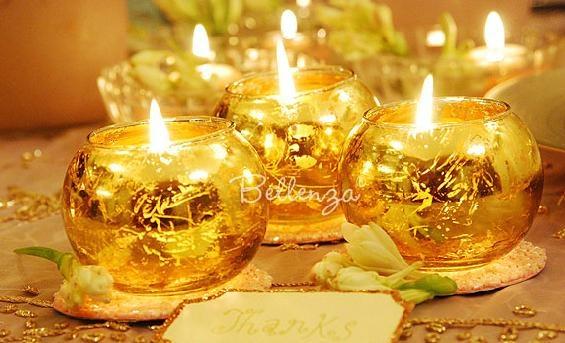 Gold-finished tea light globes