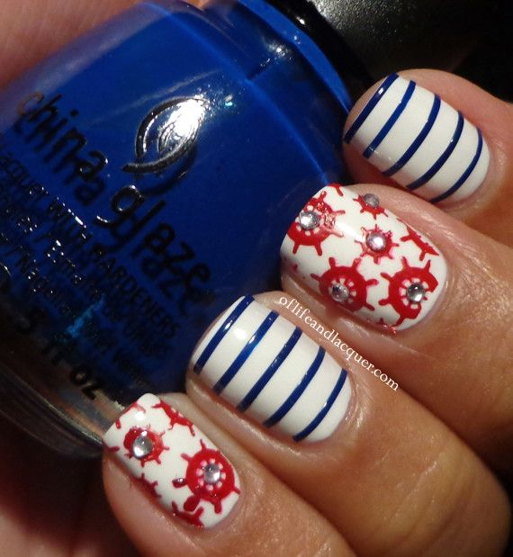 14 Refreshing Nautical Nail Art Designs for 2014 - Pretty Designs - 49 Best Nautical Nails Images On Pinterest Nautical Nails