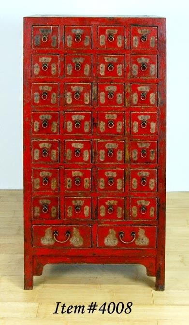 ♂ Red Asian inspired home deco This vintage apothecary chest, originally used to house medicinal herbs, features hand-painted Chinese calligraphy characters.