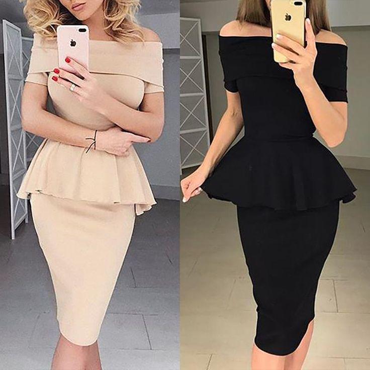 Stylish Fold-over Design Bodycon Peplum Dress