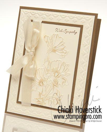 Stampin' Up! Chat WeisklaskiEmbossing Cards, Frames Tulip, Chiaki Haverstick, Sympathy Cards, Flower Gardens, Soft Suede, Tulip Embossing Folder, Flowers Garden, Embossed Cards