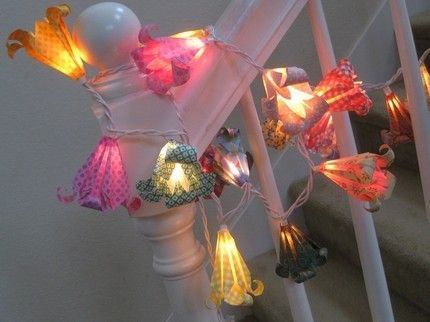 Origami flower string light lamp lantern directions Faery House-Garden Pinterest Origami ...