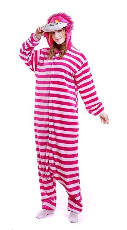 f80b60c4ddda YACHUN Adult Unicorn Pajamas Animal Costume Cosplay Onesie Halloween Gift Cheshire  Cat S