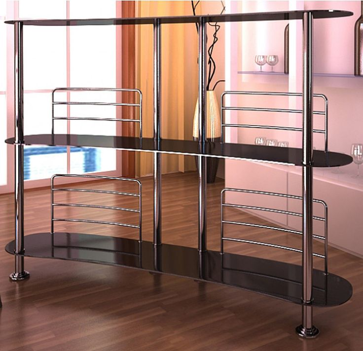 Glass Bar Table Modern Contemporary Style Tall Dining Living Room Black  Stand