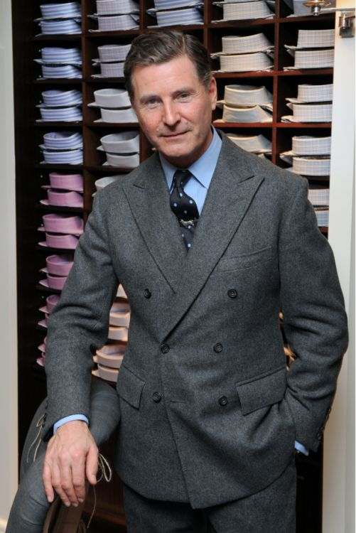 Jeremy Hackett wearing classic double breasted grey flannel suit
