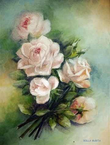 Rose Bouquet Acrylic on canvas - 18 x 24 cm by Márta Bolla - Hungary