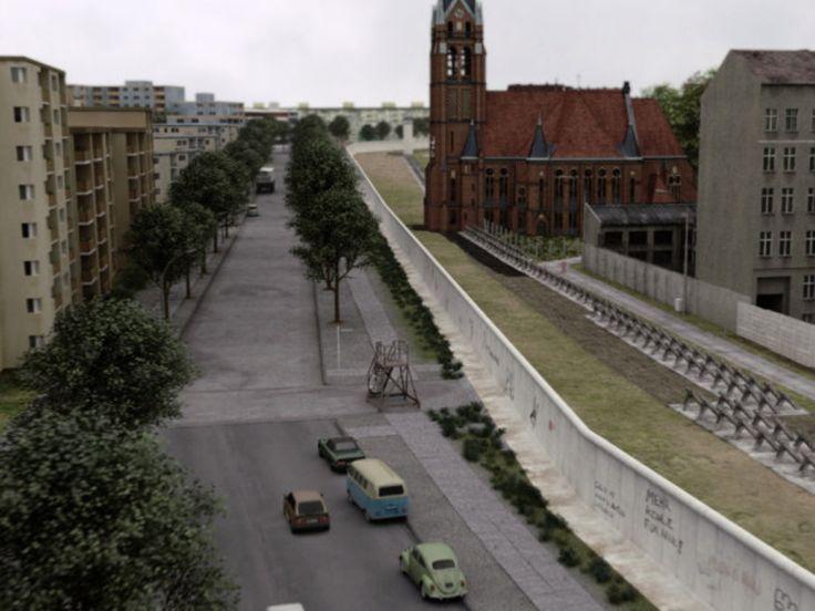 Berliner Mauer mit Todesstreifen 1960er