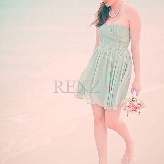 MINT Wedding dress , chiffon party dress, mint blue bridesmaid dress, strapless formal dress  (B072) on Etsy, $98.00