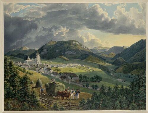 Eduard Gurk, Mariazell von der Bürgeralpe (Guckkastenblatt), um 1833 © Albertina, Wien