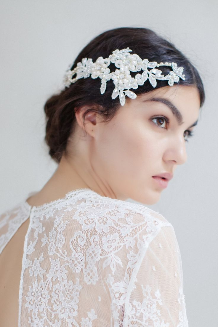 Swoon over jannie baltzer s wild nature bridal headpiece collection - This Headpiece Is Absolutely Breathtaking And Will Make Any Bride Sparkle On Her Wedding Day Adorned With An Abundance Of Guipure Leaves Flowers All