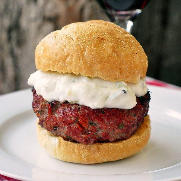 Stuffed Lamb Burgers with Lemon Mint Tzatziki - forget boring burgers ...