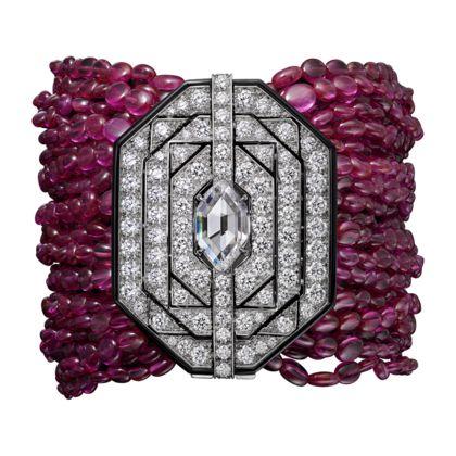 CARTIER High Jewelry bracelet Bracelet – platinum, one D VS1 navette step-cut diamond of 3.01 carats, ruby beads, onyx, brilliant-cut diamonds