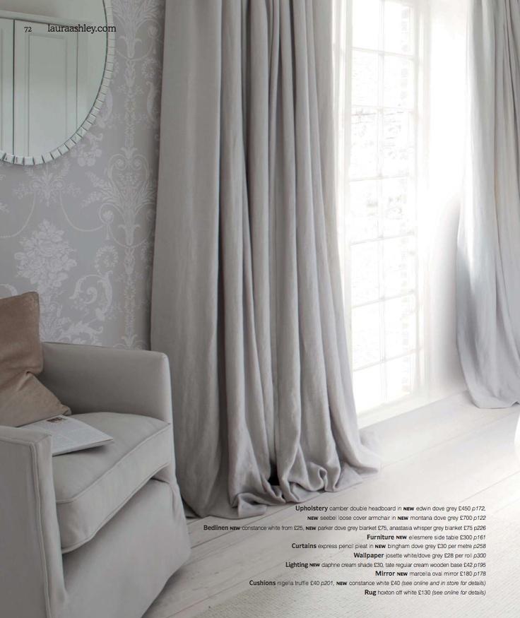 soft fabric curtains - grey plain