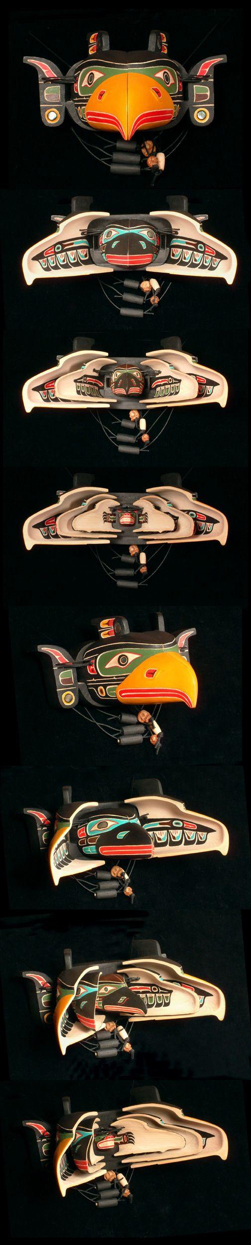 Silas Coon ( Kwakwaka'wakw )  - Four Way Miniature Transformation Mask featuring Kulus, Cormorant, Kingfisher and Bear