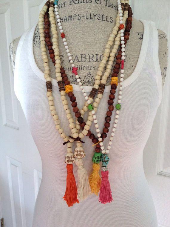 Boho glam hippie style happy buddha wood beads tassel bohemian style layering necklace by MarleeLovesRoxy on Etsy, $58.00