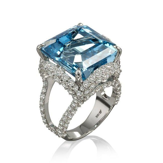 Anel com pedra de água marinha - Dica de presente para os 19 anos de casamento