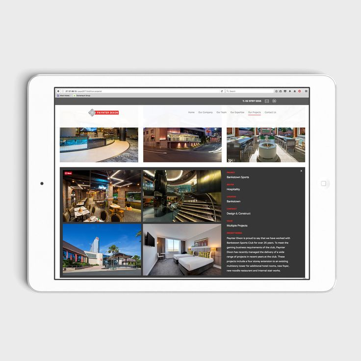 The Paynter Dixon website design features a project gallery with expanding portfolios and click-to-expand galleries within each portfolio.