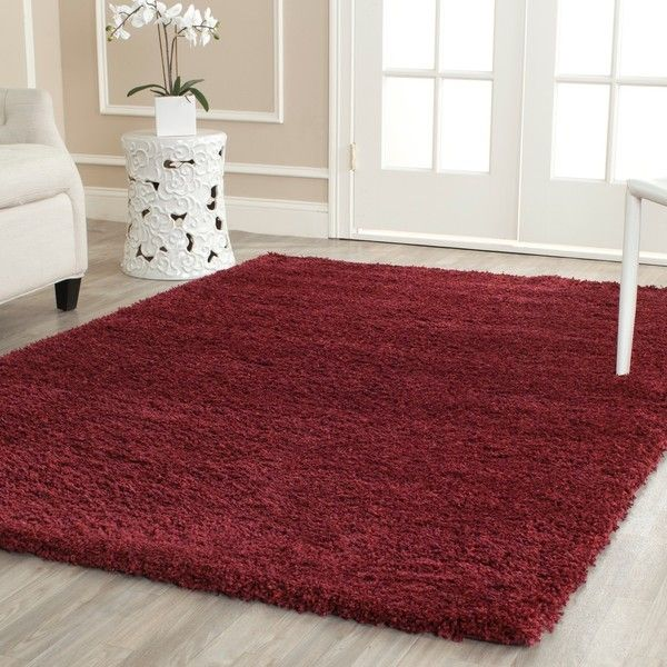 Safavieh California Cozy Solid Maroon Shag Rug ($140) ❤ liked on Polyvore featuring home, rugs, red, red shag area rug, non skid area rugs, safavieh rugs, burgundy area rugs and shag rugs