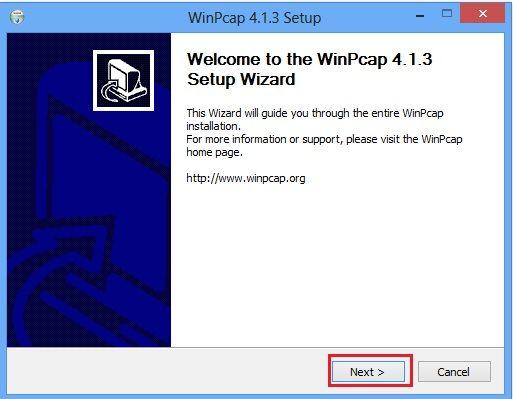 Cài đặt WinPcap 4.1.3 - Bước 1