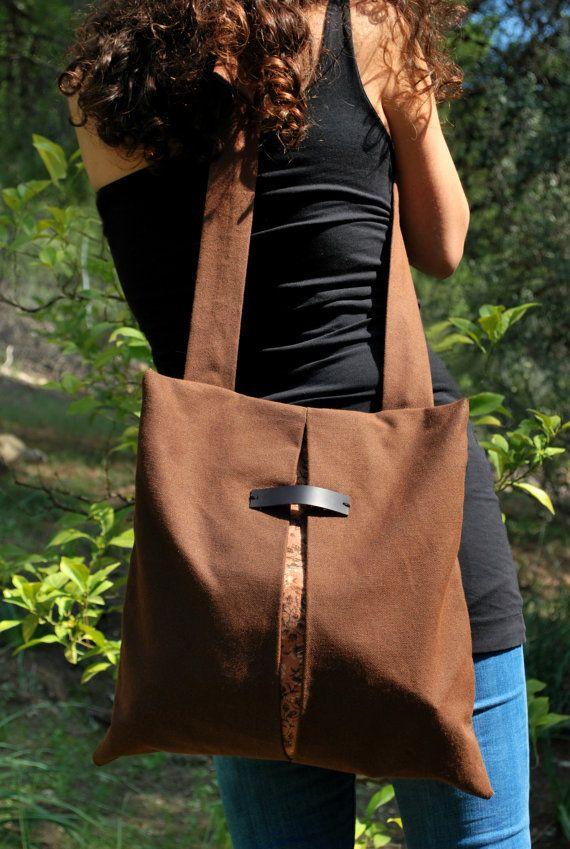 Minimal chic backpack messenger bag Waterproof brown canvas bag Floral Handmade practical women bag Romantic style School bag Gift for her