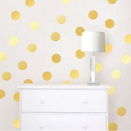 Gouden noppen confetti muurstickers, plak ze in een patroon of naar eigen inzicht op de muur.