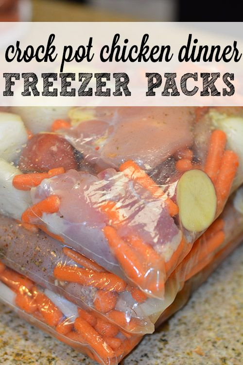 Crock Pot Freezer Packs: One Pot Chicken Dinner- One of our favorite slow cooker meals with easy instructions on how to prepare freezer packets ahead of time and toss into #crockpot in the morning. #FreezerPackets