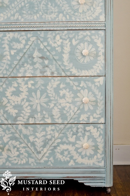 Gorgeous hand painted dresser-Could use decoupage Tissue Paper, Contact Paper or Wall Paper?