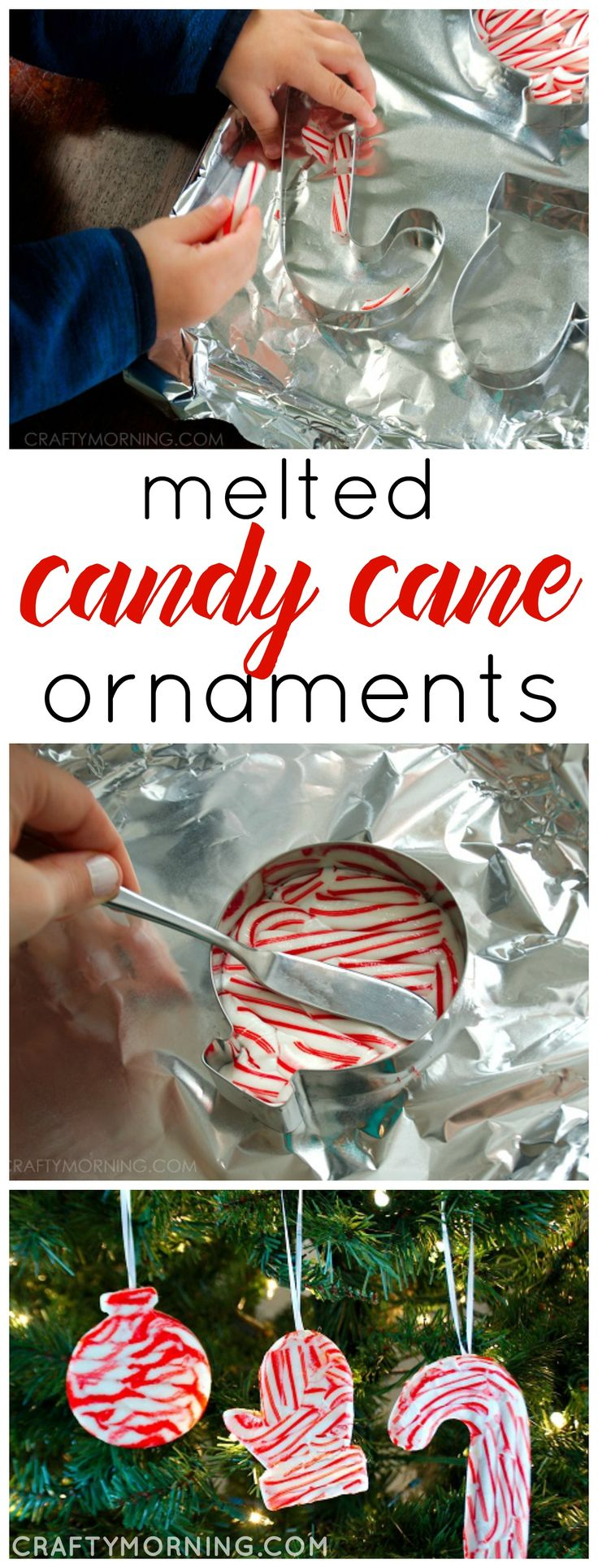 Have your kids make melted candy cane Christmas ornaments to hang on the tree! So fun and easy to do. They make great gifts too wrapped in little baggies.