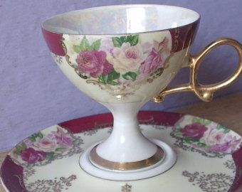 Vintage Japanese teacup and saucer, Shafford yellow and pink roses tea cup, Porcelain tea cup, Iridescent lustreware teacup, Pedestal teacup