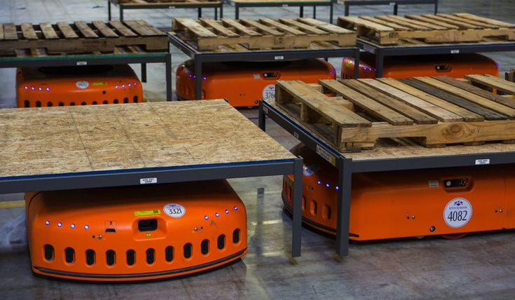 Kiva robots sit ready to go, at the Amazon Fulfillment Center in DuPont Pierce County. (Ellen M. Banner/The Seattle Times) #robots #automation #future #jobloss