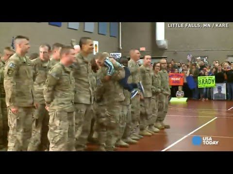 A 3-year-old boy could not wait for his mom to be dismissed after serving nine months in Afghanistan with the National Guard. As soon as he saw her, he ran over while she was still in line waiting to be dismissed.  The moment was so precious that nobody complained about Kathryn breaking formation.