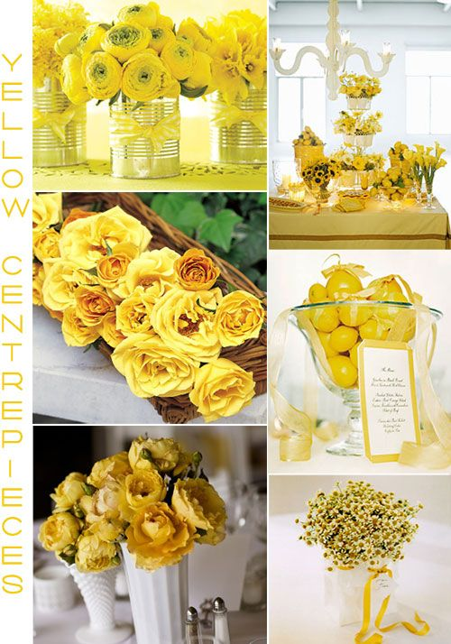 Yellow centerpieces wedding pinterest grey