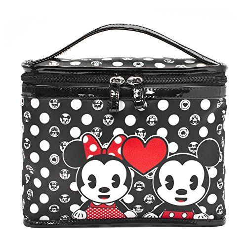 Keep it cute and keep it organized with this makeup bag featuring Mickey and Minnie Mouse. Unzips to reveal a compartment for your favorite lipsticks, mascaras, glosses, and more. The handle makes it easy to grab and go, making this bag perfect for home or travel. Single Zipper Top Handle PVC Trim Polyester Body Fully …