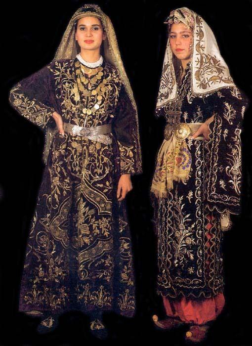 Two bridal costumes from Bigadiç (Balikesir prov.), both with goldwork embroideries. Late-Ottoman, urban style, mid-19th century. Left: a 'bindallı entari'; right: an 'üçetek' (robe with three panels).