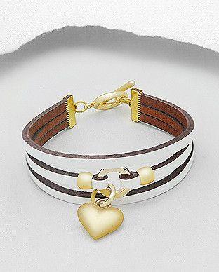 Heart Charm Leather Wrap Bracelet - White & Gold