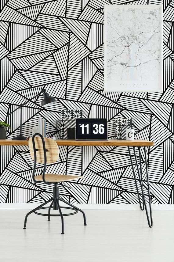 Geometric Wallpaper With Black And White Pattern Peel And Etsy Geometric Wallpaper Wall Murals Geometric Wall Paint